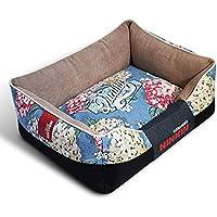 QJKai Suministros para mascotas corte terciopelo lienzo cuadrado perrera mascota nido almohadilla cama de gato