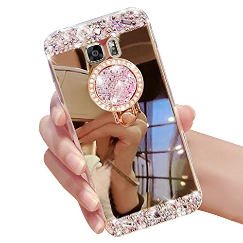 Vandot Samsung Galaxy S7 Spiegel Hülle, Make Up Mirror Case TPU Silikon Handyhülle Soft Rahmen mit Glizter Bling Kristall Crystal Strass Handy Ring Ständer Holder Luxury Damen Glänzend Flexible Handytasche Schutzhülle Ultra Dünn Weich Slim Diamant Spiegel Mirror Schutz Handy Tasche Schale Etui Bumper Hüllen für Samsung Galaxy S7 Kratzfeste Stoßdämpfend Schutzhülle Glitzer Gold