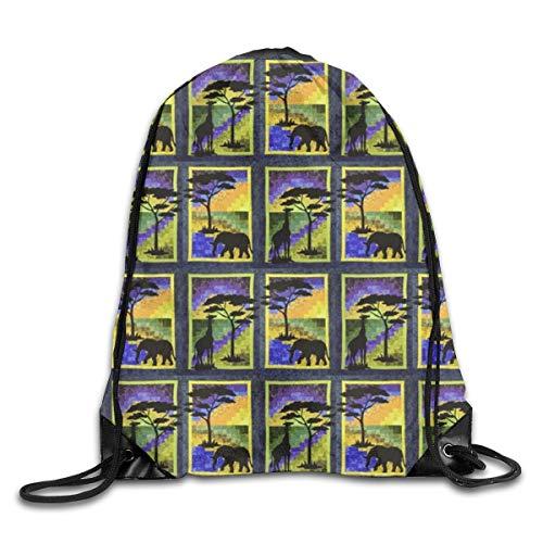 Dama Home Elephant And Giraffe Side By Side In African Scenes.Drawstring Backpack Rucksack Shoulder Bags Sport Gym Bag Travel