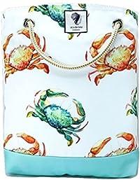"Sea By Day Uv / Water Resistant Premium Bucket Beach Bag (17"" X 17"") Crab Crossing"