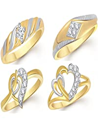 VK Jewels Gold And Rhodium Plated Alloy Ring Combo Set For Women & Girls- COMBO1417G [VKCOMBO1417G]