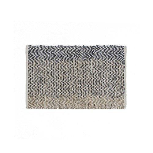 Black Velvet Studio TeppichCairoFarbeBeige/Schwarz.Gewebt,Fischgrätenmuster,Farbverlauf,80%Leder/20%Baumwolle60x90cm