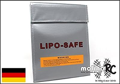 Lipo Tasche 18x22 cm feuerfest Akku Sicherheitstasche Feuer Sicherheit Safe Brandschutztasche Safebag molinoRC von molinoRC