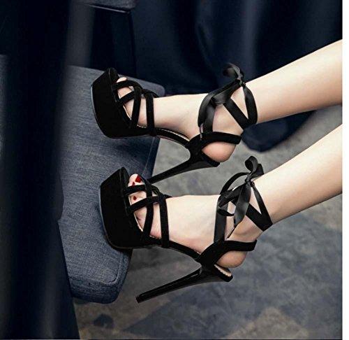 NobS Impermeabili della piattaforma gli alti sandali tacco Open Toe calza il formato di grandi dimensioni 40-43 cinturini alla caviglia Black