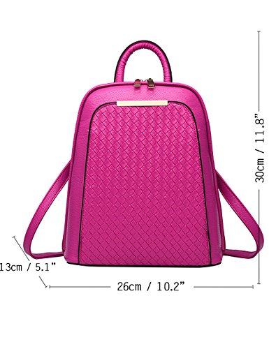 Menschwear PU Zaino Satchel Daypack sacchetto di scuola Argento Rosa 1