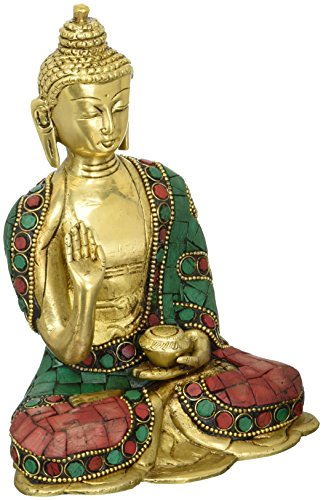 craftvatika Antik Abhaya Buddha Statue tibetischen Chinesische Sakyamuni Messing Bronze Skulptur Buddhismus (Möbel Tibetische Antike)