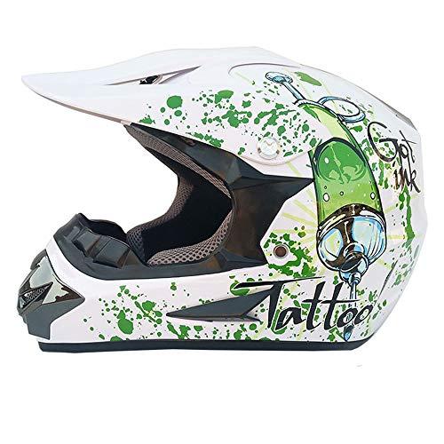 NF Adulte Dot Approuvé Moto Casque Motocross Casque Scooter VTT Casque avec Lunettes Cross Country...