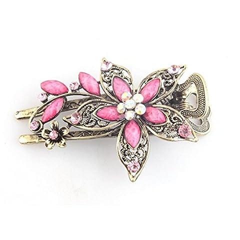 Zolimx Haar Klammern Vintage Schmuck Kristall Haarnadeln für Haar Clip Tools (Rosa)
