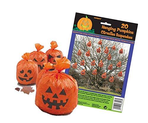 Halloween Kürbis Säcke Grusel Baum Schmuck Party Spaß 20 Pumpkin Tüten zum Füllen und dekorieren mit Bindematerial Trick Or Treatt Gartendeko (Halloween-baum Spooky)
