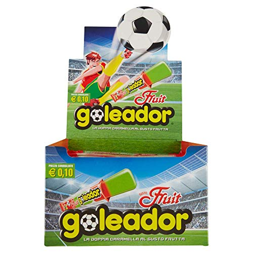 goleador fruit, la doppia caramella gommosa, box da 200 pezzi, gusto frutta, 2 caramelle per incarto, ideale per feste per bambini