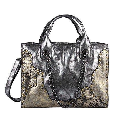 OBC Only-Beautiful-Couture Borsa Messenger - nero-blu, ca 26x33x10 cm (BxHxT) argento