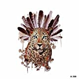 WYUEN 5 hojas de color de agua leopardo tatuaje impermeable temporales tatuaje adhesivo para mujeres hombres falso cuerpo arte 9,8 x 6 cm A-300