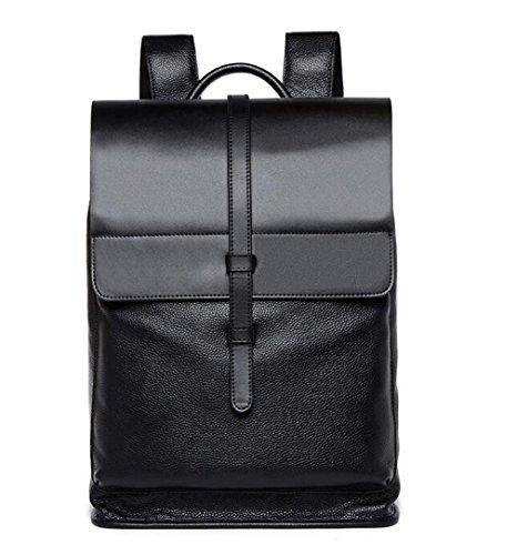 Sulandy Schwarz Weinlese echtes Kuh Leder Rucksack Rucksack Laptop Handtaschen Spielraum Schule Beutel, beiläufige tägliche Rucksack Handtasche