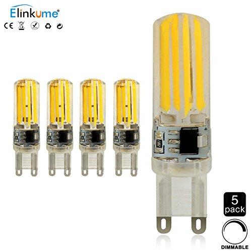 Preisvergleich Produktbild ELINKUME 5x G9 Dimmbar LED Lampen, 5W als Ersatz für 50W Halogen Lampen, Warmweiß 400LM 3200K AC 220-240V