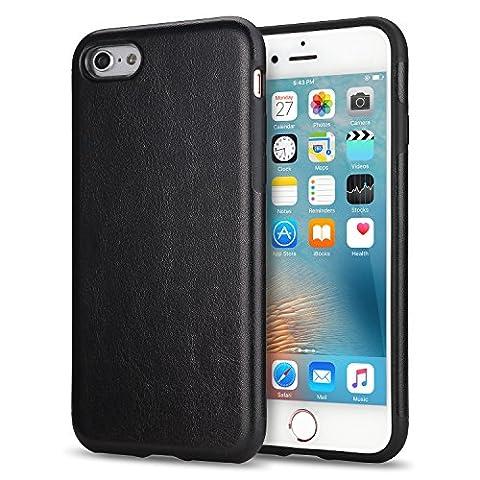 TENDLIN iPhone 6s Hülle Leder mit Flexiblem TPU Silikon Hybrid Schutzhülle für iPhone 6 und iPhone 6s (Schwarz)