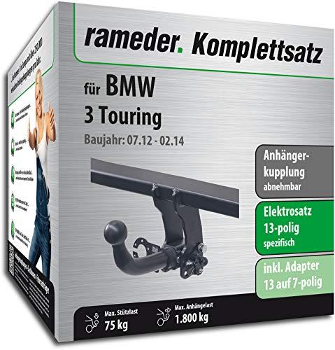Rameder Komplettsatz, Anhängerkupplung abnehmbar + 13pol Elektrik für BMW 3 Touring (142628-10266-1)