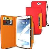 Gadget Giant Samsung Galaxy Note 2II/N7100GT-N7100Rouge Executive en cuir PU portefeuille Flip Coque avec 2emplacements pour cartes et protection d'écran LCD et stylet pour écran tactile