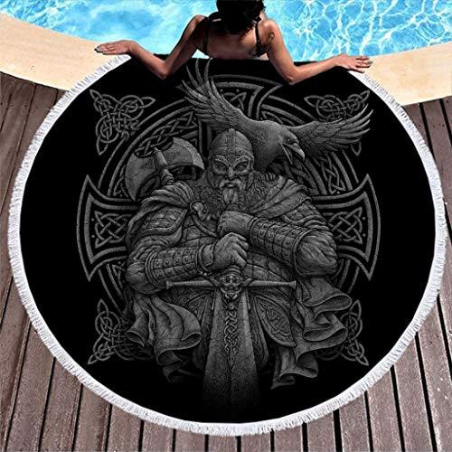 Cool Keltisch Odin Krieger Schwert Axt Rabe Kreuz Knoten Kunst Druck Runde Strandtüch mit Quasten Wikinger Helm Geist Nordisch Legende Stranddecke Franse Strandwurf 59 inch