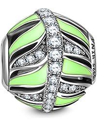 NinaQueen Hojas Verdes artificiales Abalorio de mujer de plata