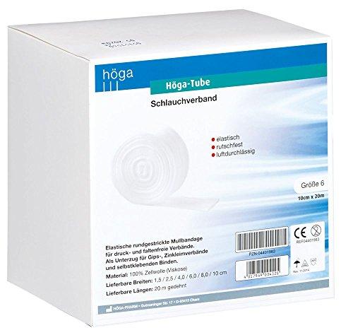 Elastische Schlauchverband (Höga Tube Schlauchverband , elastisch, rutschfest, luftdurchlässig, Größe 6, 10 cm x 20 m, 1 Stück)