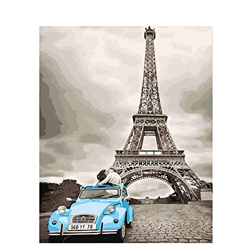 WHOOPS-DIY Dipinti a Mano Dipinti ad Olio su Tela con Numeri Torre di Parigi Auto Bacio Amante Decorazione della Parete Immagini a Parete per Soggiorno Senza Cornice, 40 * 50 cm