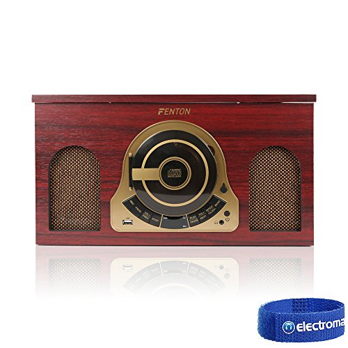 Fenton Retro Wooden Vinyl LP Record Player Turntable with CD USB RADIO Stereo Speakers