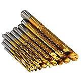 Säge Bohr Set, Titanbeschichtet HSS Sägezahnbohrer, für Holz / Kunststoff / Weichmetall Schnittloch Rillen, 10 Stück (3 mm / 4 mm / 5 mm / 6 mm / 6,5 mm / 7 mm / 8 mm / 9 mm / 10 mm / 13 mm)