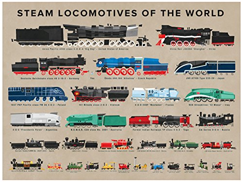 ndbild, Motiv Dampflokomotiven der Welt, 72 x 54 cm ()