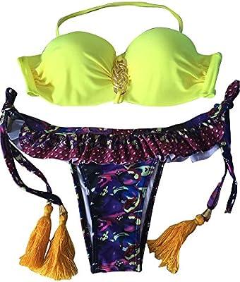 Moollyfox 2016 Nuevo Flecos Cabestro Con Encanto Conjunto Floral Bikini De Mujer Swimsuit Woman Push Up