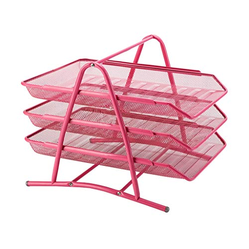 Vaschetta Portacorrispondenza Organizer per vaschette per documenti desktop impilabile a 3 file, rosa 300 * 295 * 265mm Supporto per documenti