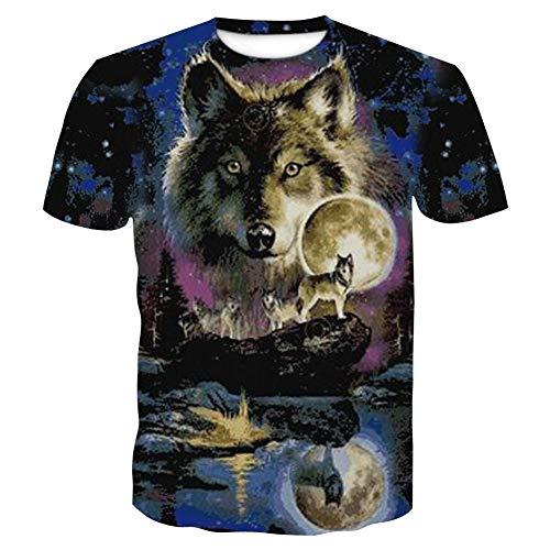 Cjf maglietta summer 3d, camicia con motivo a lupo chiaro di luna stellato, funky girocollo manica corta, t-shirt uomo personalizzate, per ragazzi ragazzi adolescenti,multicolored,xxxxl