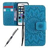 JAWSEU Coque Etui pour iPhone 5/5S/SE Portefeuille PU Étui Folio en Cuir à Rabat...