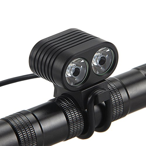 Glowjoy LED Fahrradbeleuchtung, StVZO Zugelassen Fahrradlicht 8000Lumen 2x CREE XM-L2 LED Wasserdicht Fahrradlichter Fahrradlampen Frontlicht mit 4 Licht-Modi