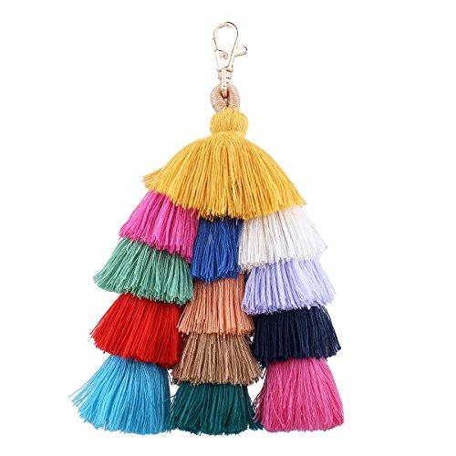 Farbe Quaste Keychain, Kreative Handgemachte Mode Bohemian Handyanhänger, Tasche Hängen Anhänger Schmuck Ornamente - Style A (Quaste Riemen)
