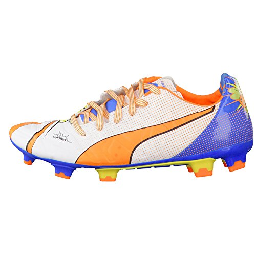 Puma evoPOWER 2.2 POP FG Herren Fußballschuhe white-orange clown fish-electric blue
