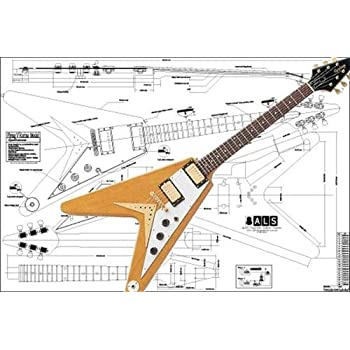 plan of gibson flying v korina electric guitar full scale print rh amazon co uk