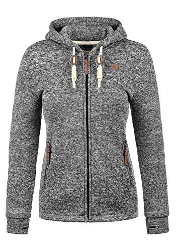 DESIRES Thory Damen Fleecejacke Sweatjacke Jacke Mit Kapuze Und Daumenlöcher, Größe:L, Farbe:Black (9000)