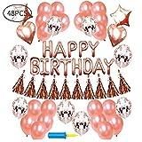 McNory Decorazione Festa di Compleanno Bimba 48, Palloncini Oro Rosa Festone di Palloncini per Compleanno Oro Rosa Palloncini in Lattice Palloncini in Lattice con coriandoli Oro Rosa