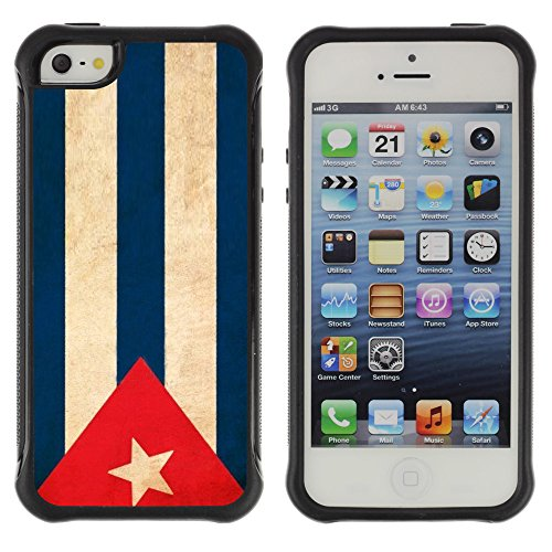 Graphic4You Vintage Uralt Flagge Von Dominikanische Republik Design Harte Hülle Case Tasche Schutzhülle für Apple iPhone 5 und 5S Drapeau Cubain Cuba