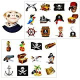 Tumao Piraten Tattoo Set, 16 x Konsait temporäre Kinder Tattoos Konsait temporäre Kinder Tattoos für Piraten Party Kinder Spielen Mitgebsel Kindergeburtstag geschenktüten. (Piraten Tattoo Set)
