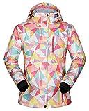 Damen Skijacke,Wasserabweisende Damenjacke warm Jacke gefüttert Winter Jacke Regenjacke ESW-01 Rosa M