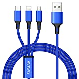 AVIWIS Multi USB Ladekabel, 3 in 1 Mehrfach Universal Kabel Micro IP Typ C Nylon Ladegerät Kabel für Android Samsung Galaxy S9 S8 S7 S6 S5 A3 A5, Huawei, Xiaomi, Kindle und mehr - 1,2m