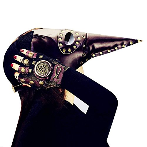 Changlesu Steampunk Pest Doktor Maske Gothic Vogel Schnabel Armbinde Armband Cosplay Requisiten ()