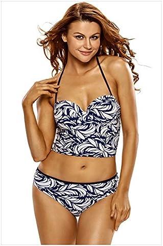 YLSZ-Split swimwear bikinis blue Smocked Strapless halter bra with split bikinis,blue,XXL