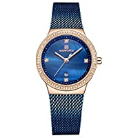 ساعة يد تونير نسائية أنيقة على شكل ألماس ساعة يد تناظرية كوارتز ساعة للسيدات مع سوار من الفولاذ المقاوم للصدأ مع صندوق جميل ازرق