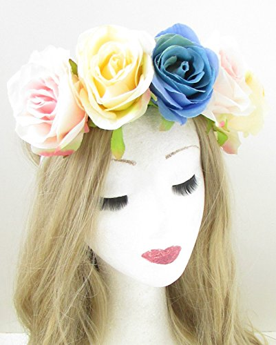 Grande Fleur Rose Blush Rose bleue Bandeau Cheveux Couronne Festival Guirlande Boho 926 * exclusivement Vendu par Starcrossed Beauty *