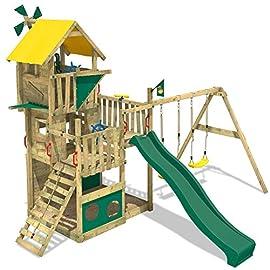 WICKEY Spielturm Smart Flight Kletterturm mit Rutsche, Baumhaus Doppel-Schaukel und verschiedenen Ebenen, grüne Rutsche + gelbe Plane