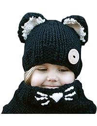 Kfnire gorros de punto cálidos bebé gorros de animales lindos fox sombrero y  bufanda gorros gorras d16b5df8222