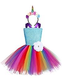 CHICTRY Robe Fille soirée cérémonie Robe de baptême Cosplay déguisement  Licorne sans Manches Tutu Tulle Carnaval pour Enfant 2… ebddaec75b6