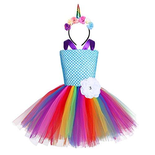 iEFiEL Mädchen Einhorn Kostüm Set Prinzessin Kleid mit Blumen Haarreif für Kinder Kostüm Karneval Party Halloween Verkleidung Outfits (98-104, Y Mehrfarbig)